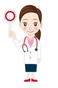 ○☓ マルバツ棒を持つ笑顔の女性医師のイラスト 白衣 全身 3等身