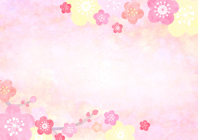 水彩で描いた和風の梅の背景イラスト