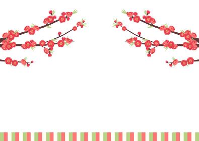 桃の花とひな祭りのイラスト(桃の節句)