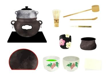 茶道、茶道具の水彩風イラストセット