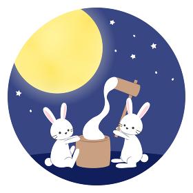 十五夜_満月の下で餅つきをするうさぎ
