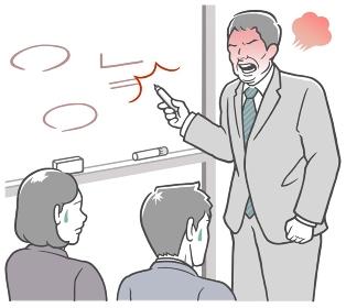会議室のホワイトボードの前で説明する、怒った中年男性
