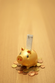small piggy bank on money