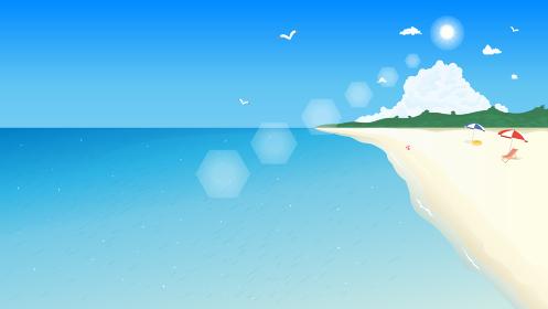 夏のビーチと青い海の風景イラスト 背景素材