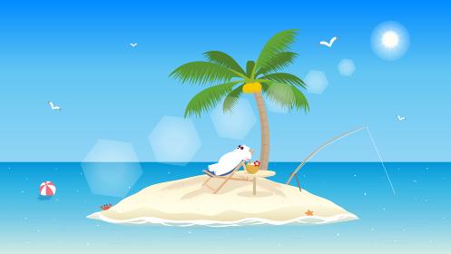 ブルーオーシャン シロクマの休暇 風景イラスト 背景素材