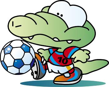 ワニのサッカーマスコットキャラクター