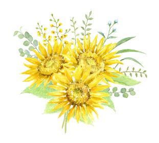水彩で描くひまわりの花束