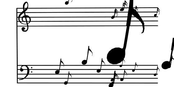 楽譜から飛び出した8分音符、3Dレンダリング