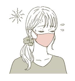 ビューティー マスクをつける若い女性のイラストレーション