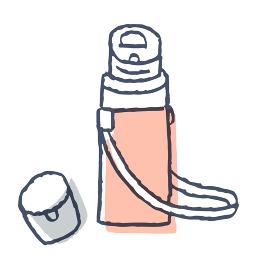 キャップの開いた水筒