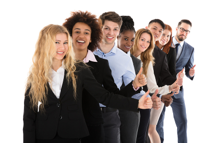 Confident Businesspeople Gesturing Thumbs Up