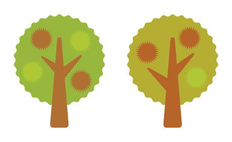 秋に実をつけた2本の栗の木のアイコン