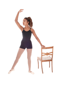 Beautiful slim woman praxis ballet and stretching