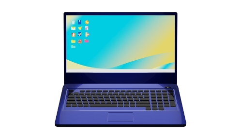 青いノートパソコン 3DCG 白背景