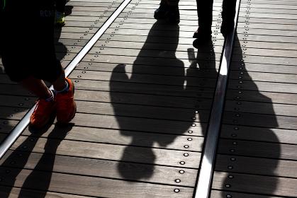 神奈川県横浜市みなとみらい、線路跡が残る新