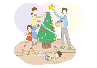 クリスマスツリーの準備をする夫婦と姉弟