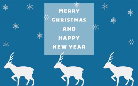 雪の結晶とトナカイのクリスマスカード