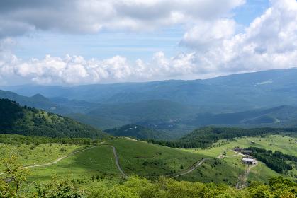 夏の車山山頂からの眺望