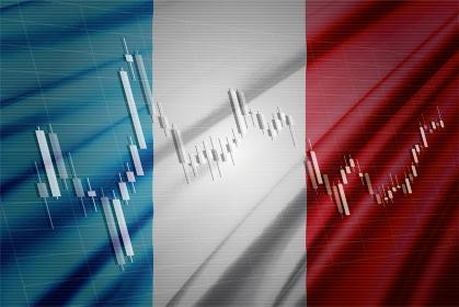 フランスの国旗と株価チャート ロウソク足を合成したコンピューターグラフィックスCG