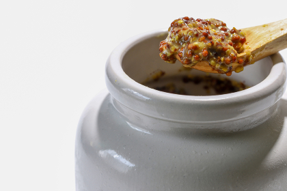 白い陶器の器に入った粒マスタード