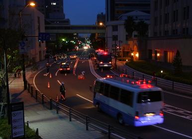 都市の治安警備夜間(2010年APEC横浜開催時)
