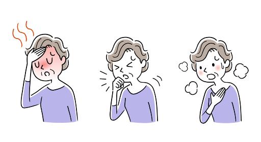 イラスト素材:新型コロナウイルスの症状、シニア、女性
