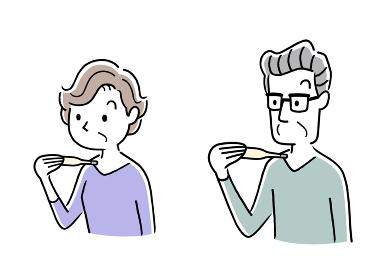 イラスト素材:体温計を使って体温を測るシニア男性とシニア女性、高齢者