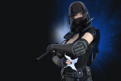 暗闇の中忍者の衣装を身にまとったくノ一が刀と大きな手裏剣を持ちこちらを睨んでいる