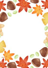 手描き 色鉛筆 紅葉と銀杏と栗の落ち葉のイラストフレーム