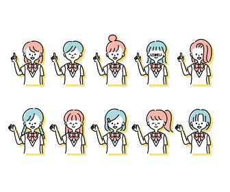 夏の制服を着た様々な女子学生の感情表現イラスト(上半身)