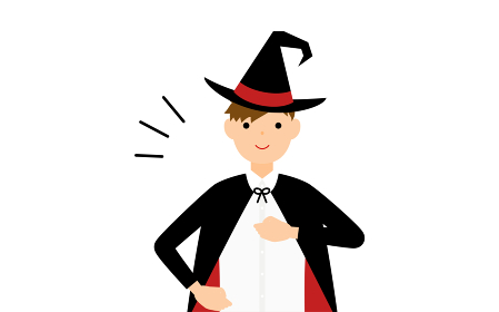 ハロウィンの仮装、魔法使い姿の男の子が胸を叩いているお任せあれのポーズ