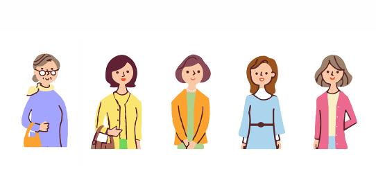 中高年女性5人 上半身
