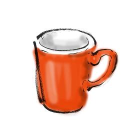 手描きイラスト素材 マグカップ コップ うがい プラスチック