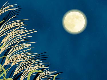 満月とススキの風景イラスト