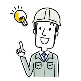 イラスト素材:作業服を着た若い男性、アイデア、思いつく