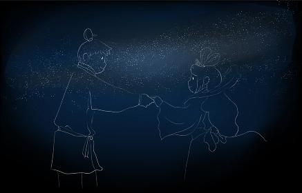 天の川と七夕の織姫と彦星のイラスト