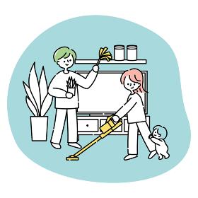 掃除をする夫婦と赤ちゃん