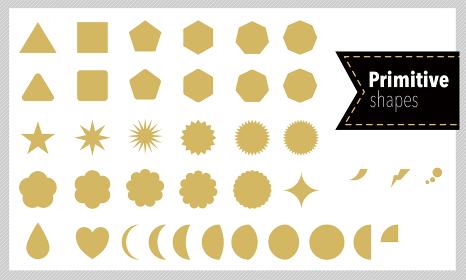 吹き出し、ハート、輝きなどに使えるプリミティブな図形のセットのイラスト