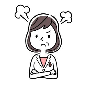 ベクターイラスト素材:怒る、激怒する中年女性医師