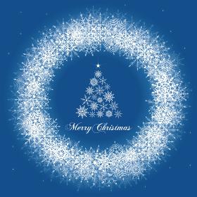 雪の結晶のクリスマスリースイラスト