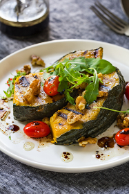 Grilled Pumpkin with Cherry Tomato and Walnut Salad