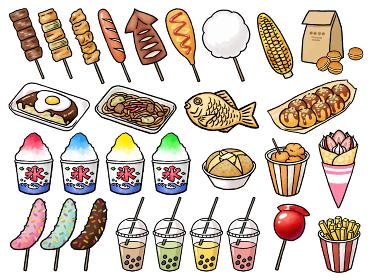 【手描きベクター食べ物イラスト素材】縁日・お祭り・屋台の食べ物セット