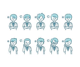 夏の制服を着た様々な男子学生の感情表現イラスト(上半身)