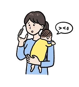 急病の子どもを抱え病院に電話するお母さんのイラスト