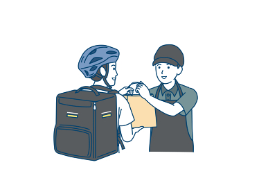 フードデリバリー 配達員 男性 荷物を渡す飲食店の店員 イラスト素材