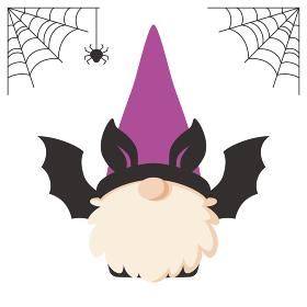 ハロウィンのコウモリの仮装をした北欧の小人のキャラクター