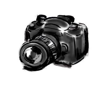 和風手描きイラスト素材 旅行 カメラ