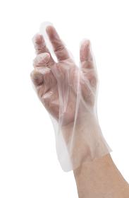 ポリ手袋を着けた男性の手