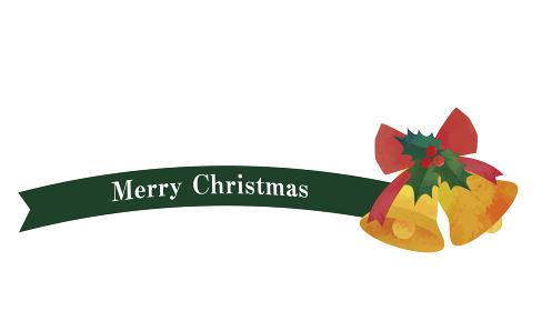 シンプルなリボンとベルの装飾(グリーン)クリスマスデコレーション
