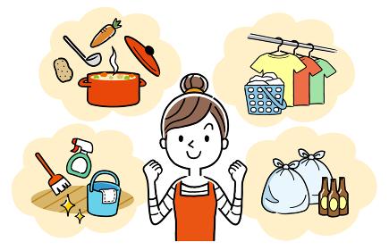 イラスト:家事を頑張る主婦、女性
